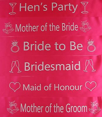 Hens Night Bridal Party Sash Bride Bridesmaid Maid Of Honour * Hot Pink Silver *
