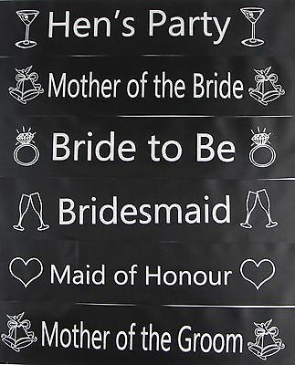 Hens Night Bridal Sash Sashes Bride Bridesmaid Maid Of Honour * Black Silver *