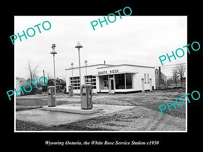 OLD HISTORIC PHOTO OF WYOMING ONTARIO CANADA, WHITE ROSE SERVICE STATION c1950