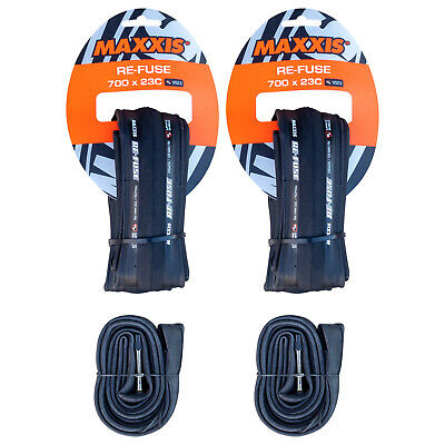 2x Maxxis Re-Fuse + 2x Tubes. Folding Road Bike Tyres 700 x 23c Refuse Black