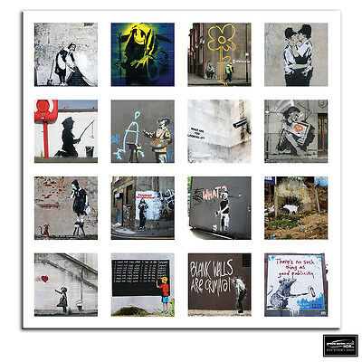 Montage Collage  Banksy Street BOX FRAMED CANVAS ART Picture HDR 280gsm