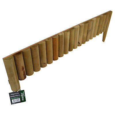 1M Long Picket Fixed Edge Fence Border Log Roll Garden Outdoor Lawn Edging Plant