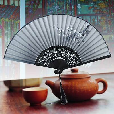 New Chinese Ladies Painted Plum Flower Silk & Bamboo Folding Hand Fan - Black