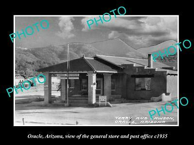 OLD LARGE HISTORIC PHOTO OF ORACLE ARIZONA, THE POST OFFICE & STORE c1935