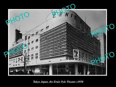 OLD LARGE HISTORIC PHOTO OF TOKYO JAPAN, VIEW OF THE ERNIE PYLE THEATER c1950