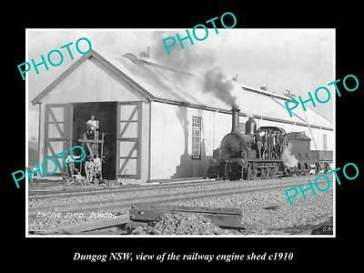 OLD LARGE HISTORIC PHOTO OF DUNGOG NSW, THE RAILWAY ENGINE SHED c1910