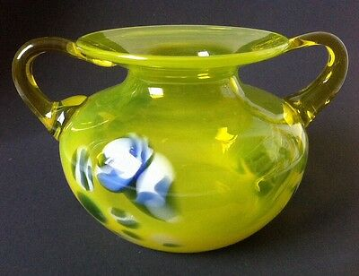 Vintage Murano Style Two Handle Art Glass Bowl Yellow Blue Hand Blown Vaseline?