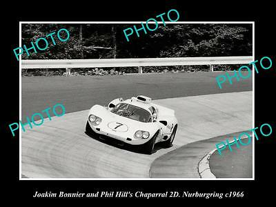 OLD LARGE HISTORIC PHOTO OF CHAPARRAL 2D RACE CAR, PHILL HILL NURBURGRING 1966 1