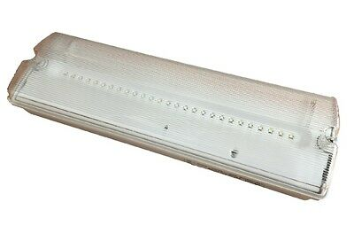 3 Hr Maintained - Non Maintained 3W LED Emergency Bulkhead Fire Exit Light IP65
