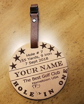 Golf Bag Tag, Hole in One, Leather Custom Engraved Tag, Luggage Tag