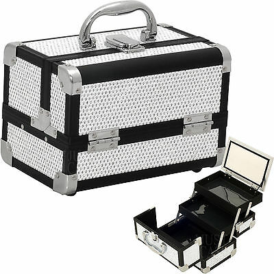Small Aluminum Makeup Train Case Jewelry Cosmetic Travel Storage Organizer NIB