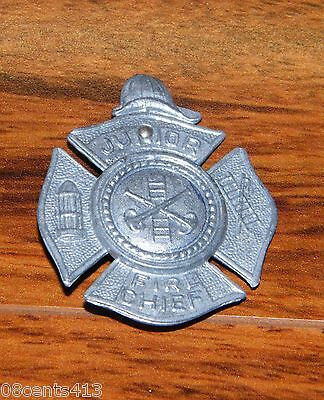 Vintage Junior Fire Chief Pin / Button / Badge (Shield Firefighter Ladder & Hat)