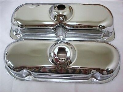 1982 & Up Small Block Ford 3.8L V6 CHROME STEEL Stock Height Valve Covers SBF