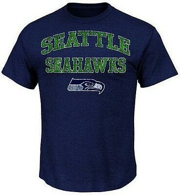 Seattle Seahawks NFL Majestic Team Shine T Shirt Navy Heather Big And Tall  Sizes 43edea5bd