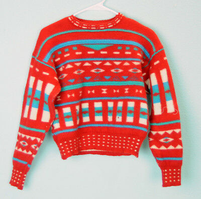 VTG Red Knit Pull Over Winter Sweater top