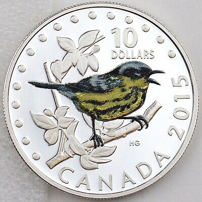 Canada 2015 $10 Colorful Songbirds of Canada: Magnolia Warbler Pure Silver Proof