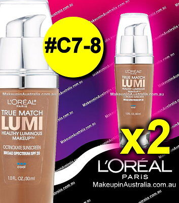 2 x Loreal True Match Lumi Makeup Foundation C7-8 Nut Brown RRP $67