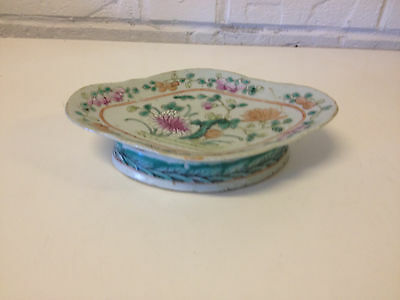 Antique Chinese Qing Dynasty Porcelain Low Bowl / Tazza w Floral Bats Waves Dec.