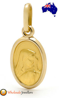 New 375 9ct 9K Italian Yellow Gold Solid Madonna Mary Religious Medal Pendant