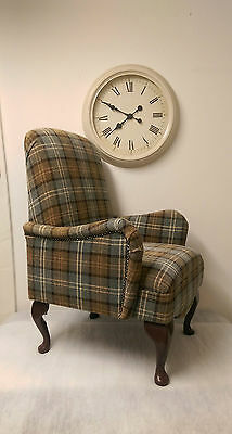 Country Shabby Chic Lana Tartan Bedroom Chair in Duck Egg Blue + FREE DELIVERY!