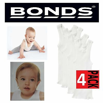 Bonds Baby Kids Girls Boys White 4 Pack Cotton Singlet Singlets Vest Underwear
