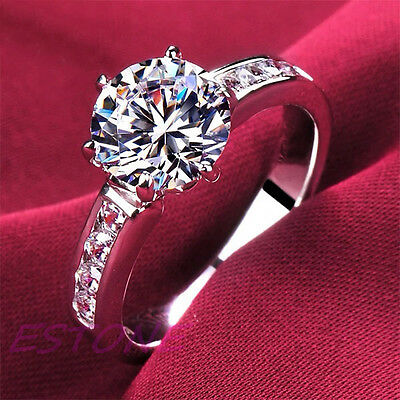 Fashion Solid Silver Plated Ring Women Beautiful Gift Size 5-8 AAA Zirconia