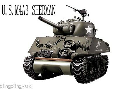 Heng Long Radio  Remote Control RC 2.4G Tank M4A3 SHERMAN 1/16 with 2 Sounds !