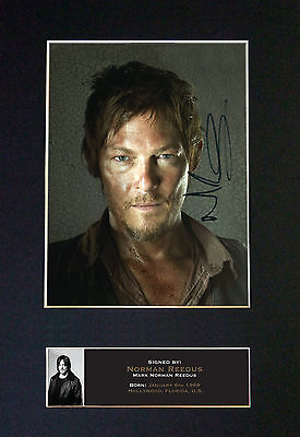 NORMAN REEDUS Walking Dead Signed Mounted Autograph Photo Print (A4) No560