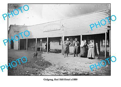 OLD LARGE PHOTO GULGONG NSW, RED HILL HOTEL c1880