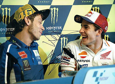 VALENTINO ROSSI Marc MARQUEZ Double SIGNED 16x12 GREAT Photo Autograph AFTAL COA