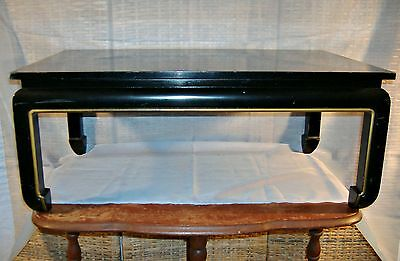 Black Lacquer Low Tea Table Stand Vintage Chinese Oriental Hollywood Regency