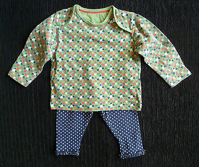 Baby clothes GIRL 6-9m outfit green heart top/blue spot legging2nd item postfree
