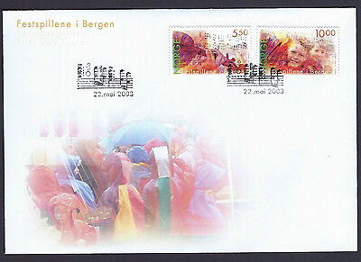 Norway 2003 Bergen Festival set on unaddressed official first day cover