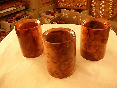3 X Pencil Cups Thuya Wood Made in Morocco