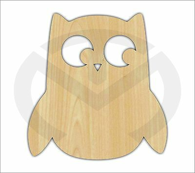 Unfinished Wood Owl w/face Laser Cutout, Wreath Accent, Door Hanger, (larger)
