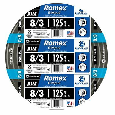 125-Ft Roll 8-3 AWG Gauge Indoor House Electrical Copper-Wire Ground Romex Cable