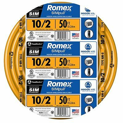 50-Ft Roll 10-2 AWG NM-B Gauge Indoor Electrical Copper Wire Ground Romex Cable