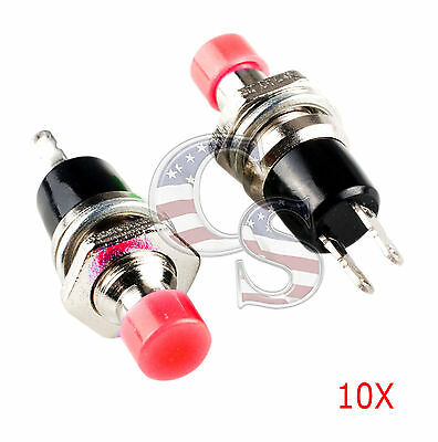 New Red 10Pcs Mini Momentary On/Off Lockless Micro Push Button SPST Switch