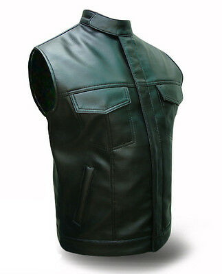 New Mens 100% Real Leather All Black Motorcycle Biker Style Vest Waistcoat-M09