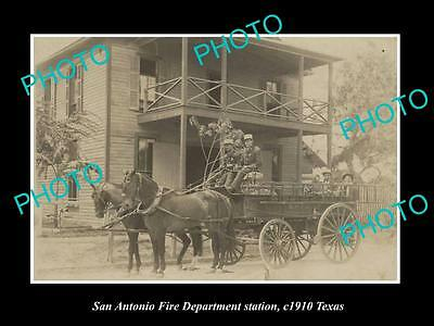 OLD LARGE HISTORIC PHOTO OF SAN ANTONIO FIRE DEPARTMENT STATION c1910 TEXAS