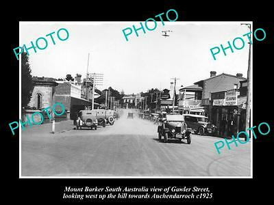 OLD LARGE HISTORIC PHOTO OF MOUNT BARKER SA, VIEW OF GAWLER STREET c1925