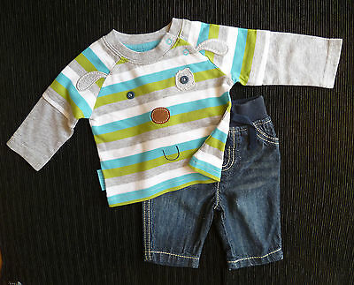 Baby clothes BOY newborn 0-1m TU animal face stripe long sleeve top/F&F jeans