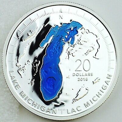 "Canada 2015 $20 Lake Michigan 1 oz. Pure Silver Color Proof Coin - ""Great Lakes"""