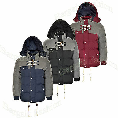 Kids Boys Winter Puffa Jacket Coat Detachable hood Cord Patch Padded Yrs 7 - 13