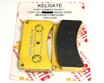 Kelgate 4 Pot Brake Pad Set Med Yellow Go Kart Karting Race Racing