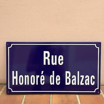 French Street Enameled Sign Plaque - rare AWESOME HONORE DE BALZAC