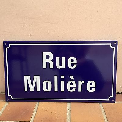 French Street Enameled Sign Plaque - rare AWESOME MOLIERE