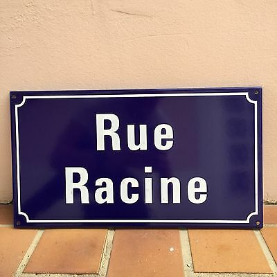 French Street Enameled Sign Plaque - rare AWESOME RACINE