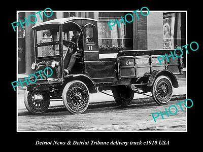 OLD LARGE HISTORIC PHOTO OF THE DETRIOT TRIBUNE NEWSPAPER DELIVERY TRUCK c1910