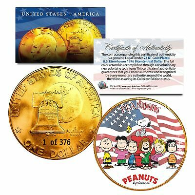 1976 PEANUTS SNOOPY 24K Gold Plated IKE Dollar *Each Coin Serial Numbered of 376